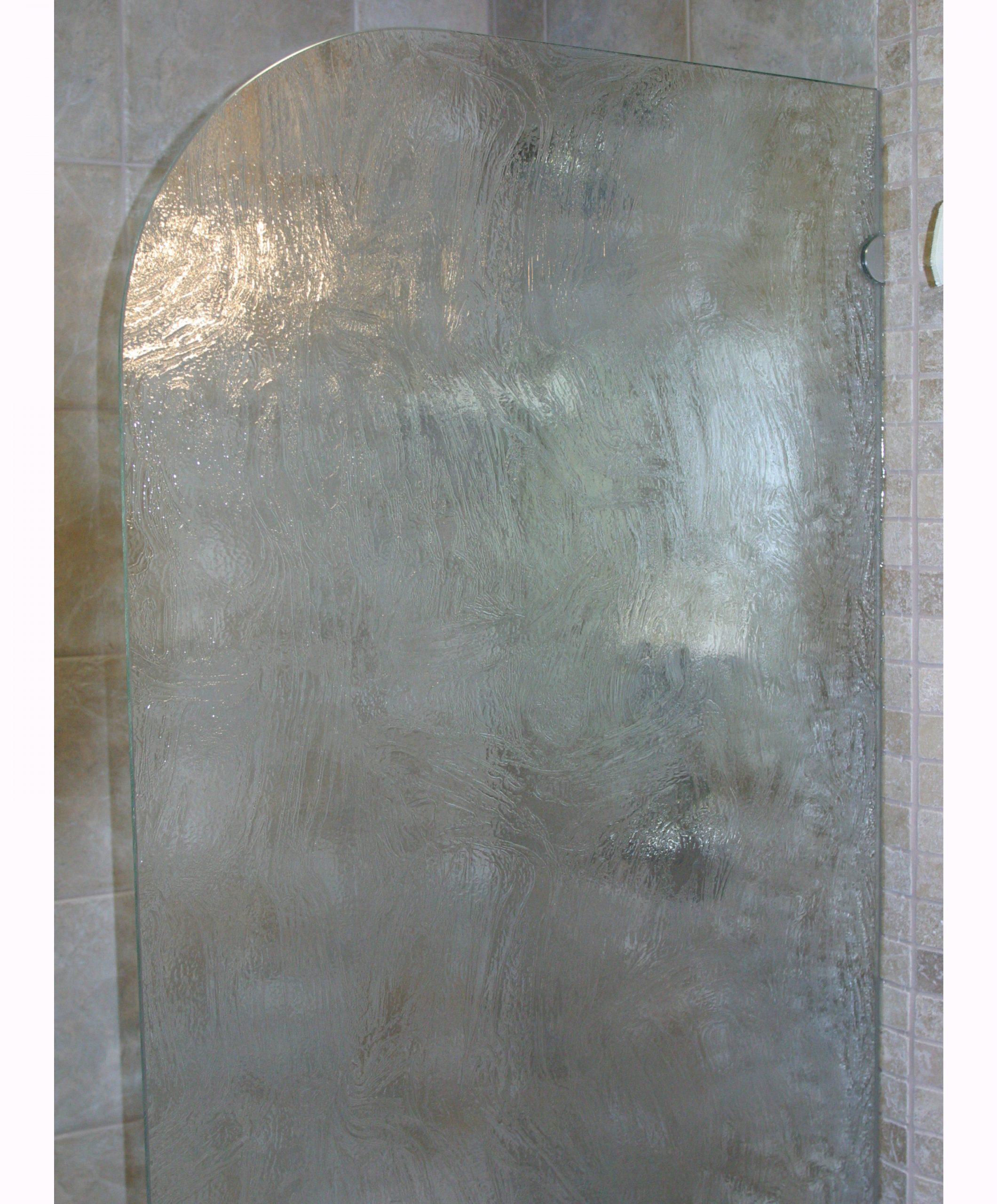 Pattern Glass Shower Screen with Radius Corner