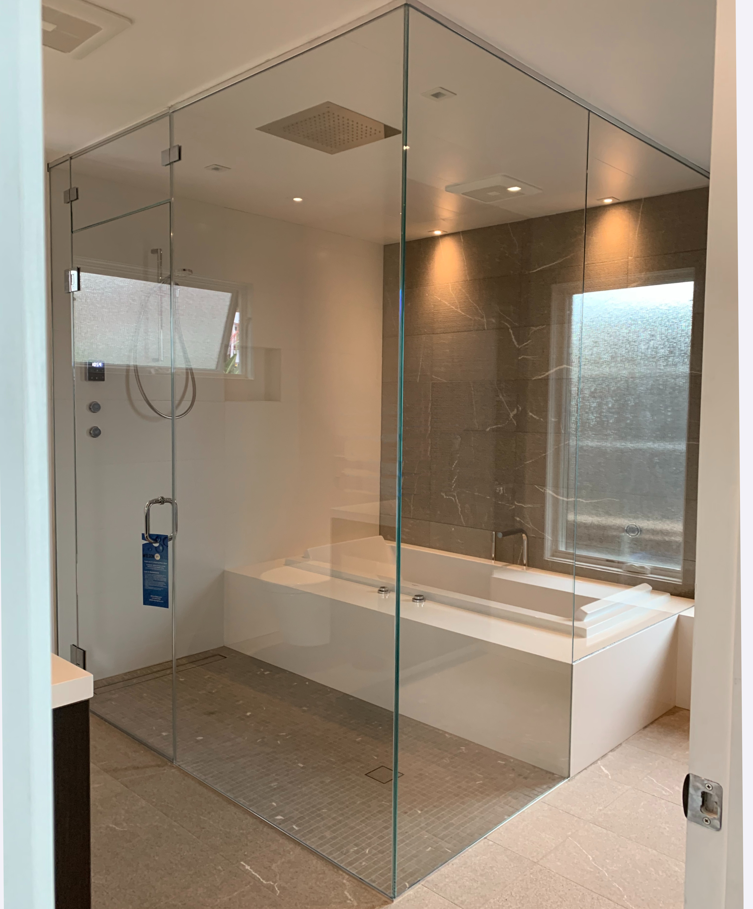 Steam Room with Operable Transom
