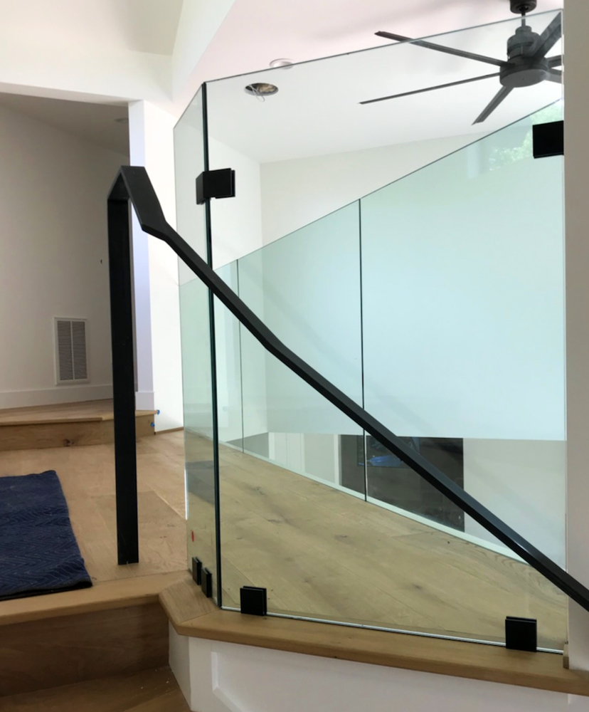 Glass Stair Railing Guard Rail Matte Black