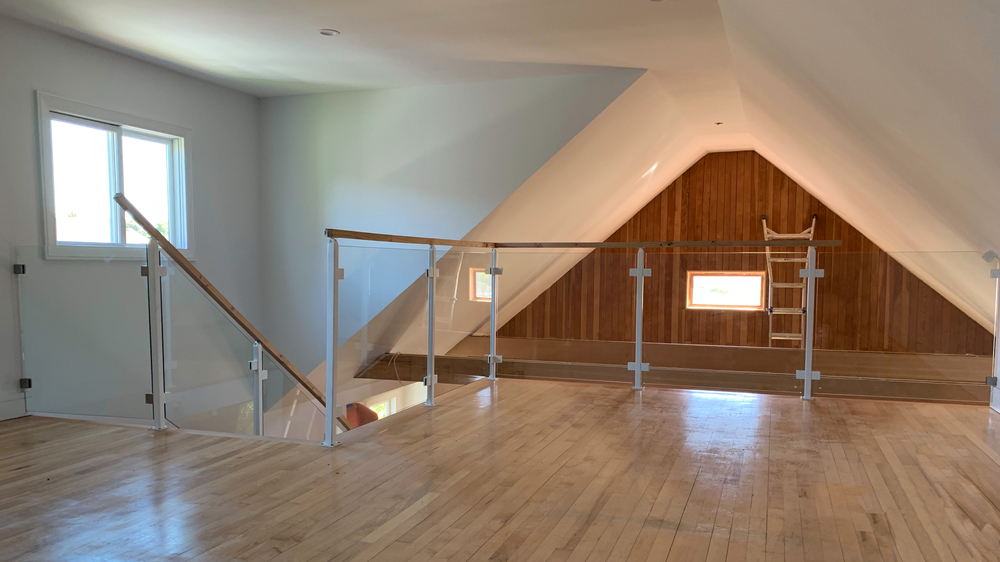 Interior Glass Railing White Post & Beam Wood Cap Rail