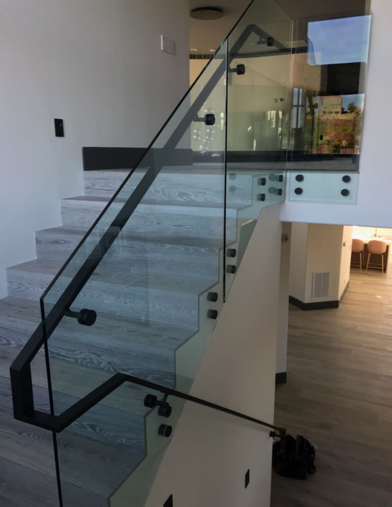 Glass Stair Railing Black Steel Railing and Stand-offs