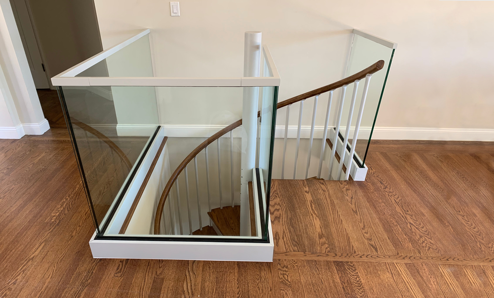 Glass Metal And Wood White Stair Railing