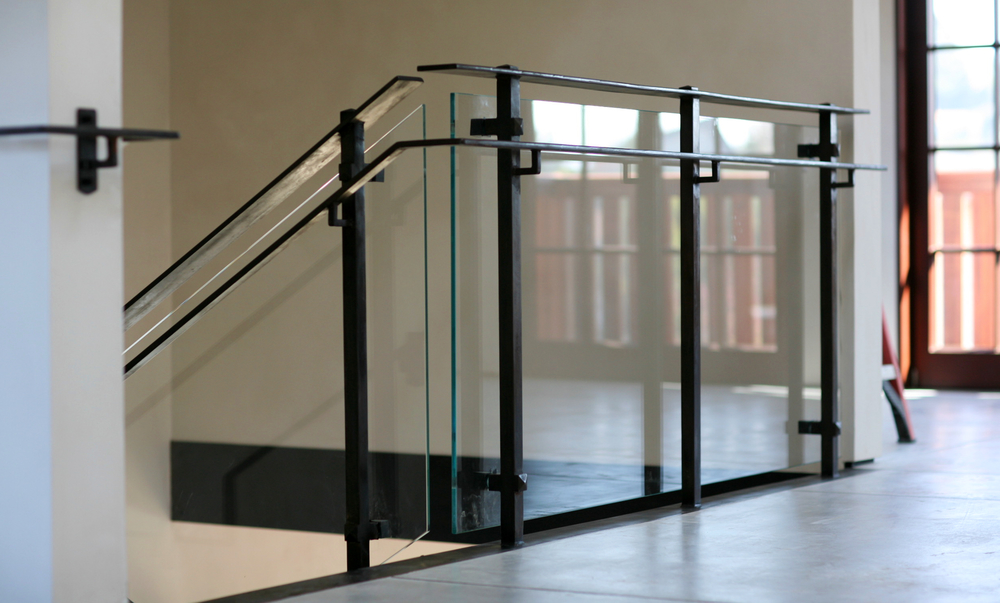 Office Interior Railing Matte Black Custom  Steel & Glass Railing