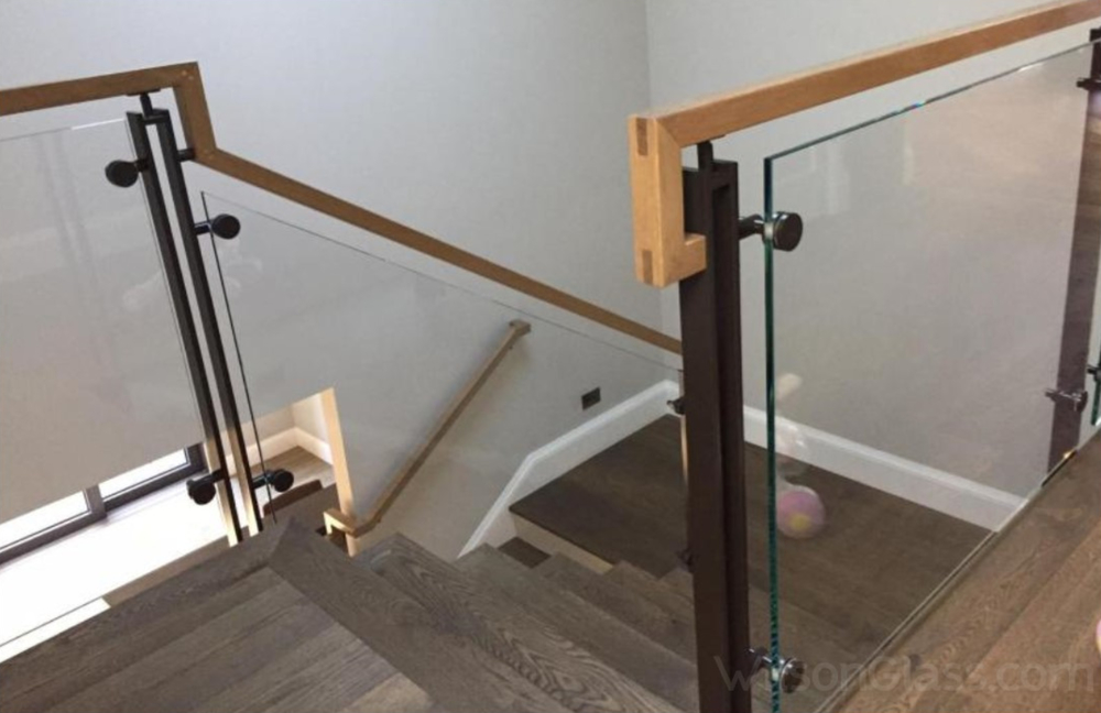 Glass Metal And Wood Stair Railing
