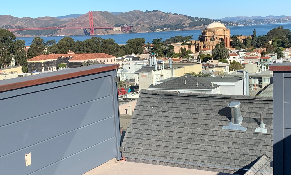 Glass Rooftop Railing view of Golden Gate and Palace of Fine Arts