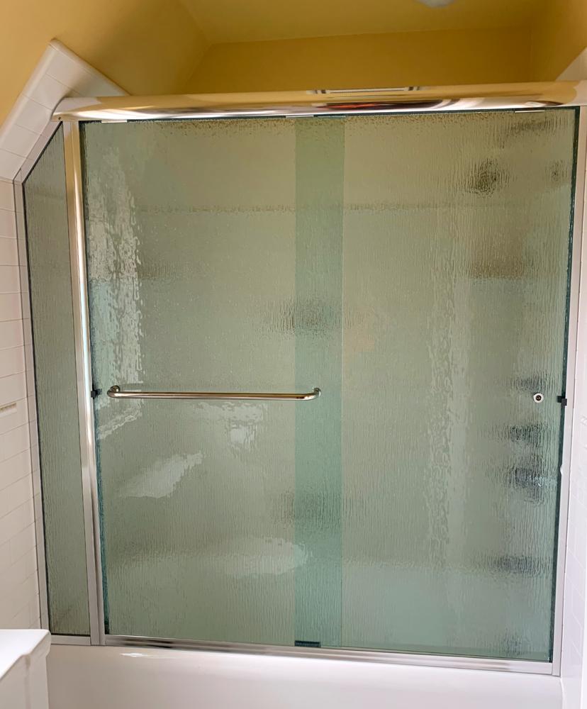 Angled Sliding Shower Door Rain Glass