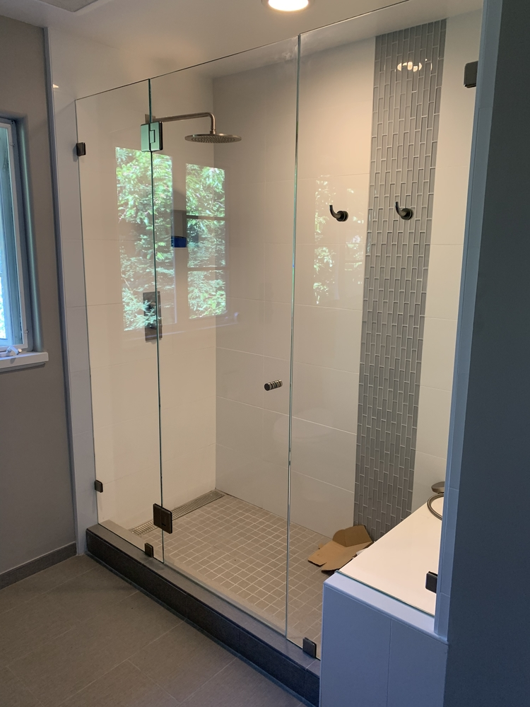 Frameless Shower Door Bench Notch Robe Hooks