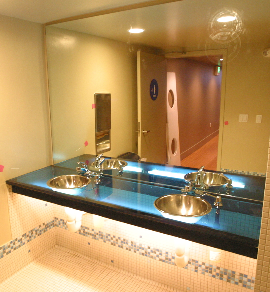Commercial Glass Bathroom Vanity