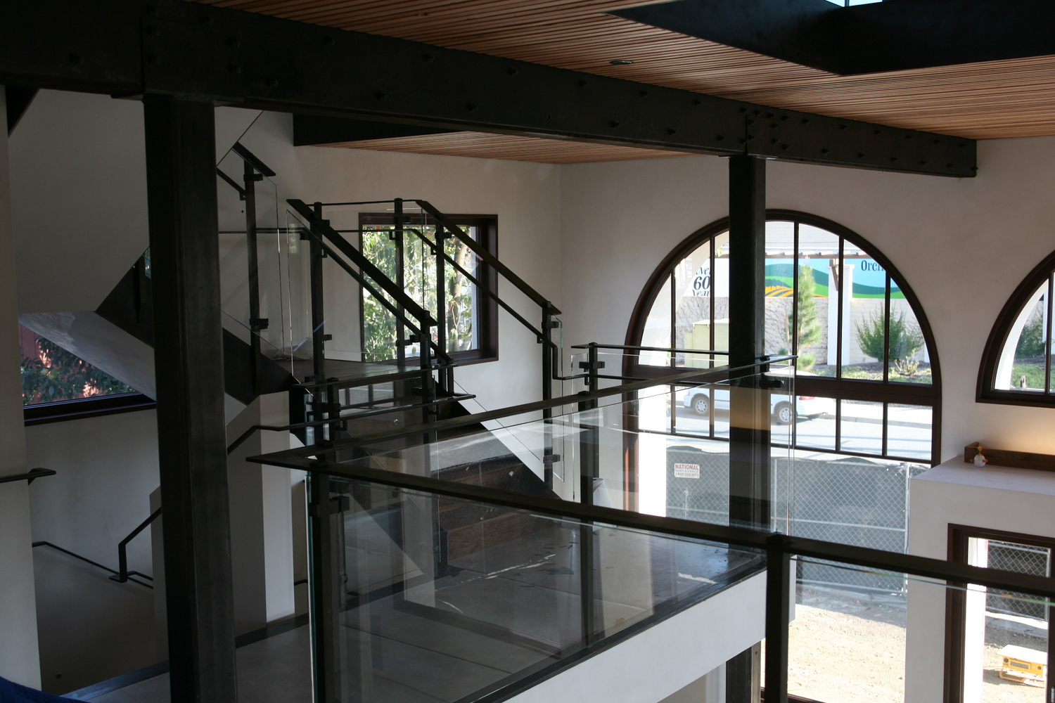 Custom black steel glass railing