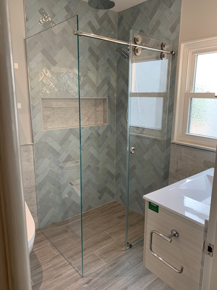Frameless Sliding Shower Enclosure Curbless Shower
