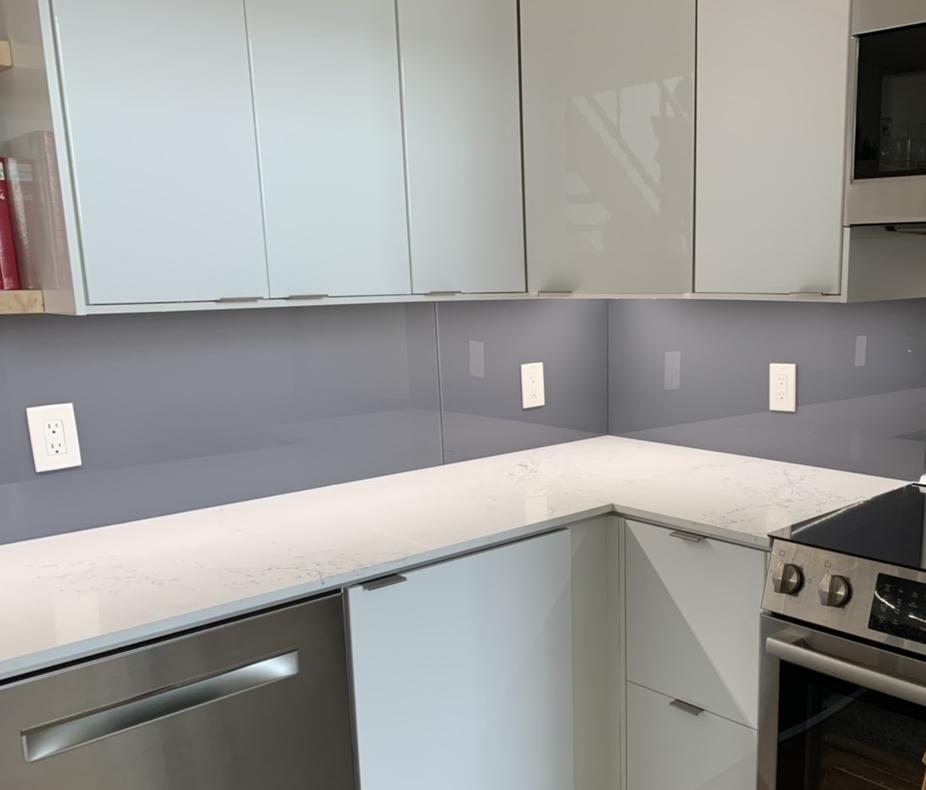Back-Painted Glass Kitchen Backsplash