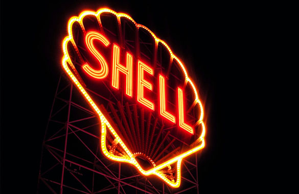 Shell logo in lights