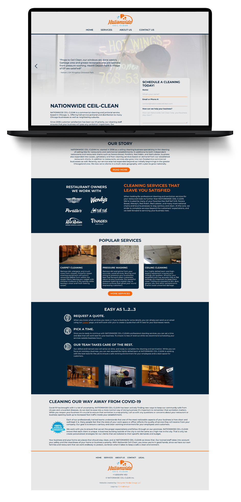 nationwide ceil clean website design and development, entire website dropping out of a laptop