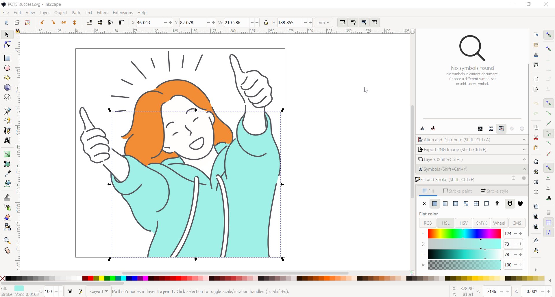 Vector graphic being edited in Inkscape