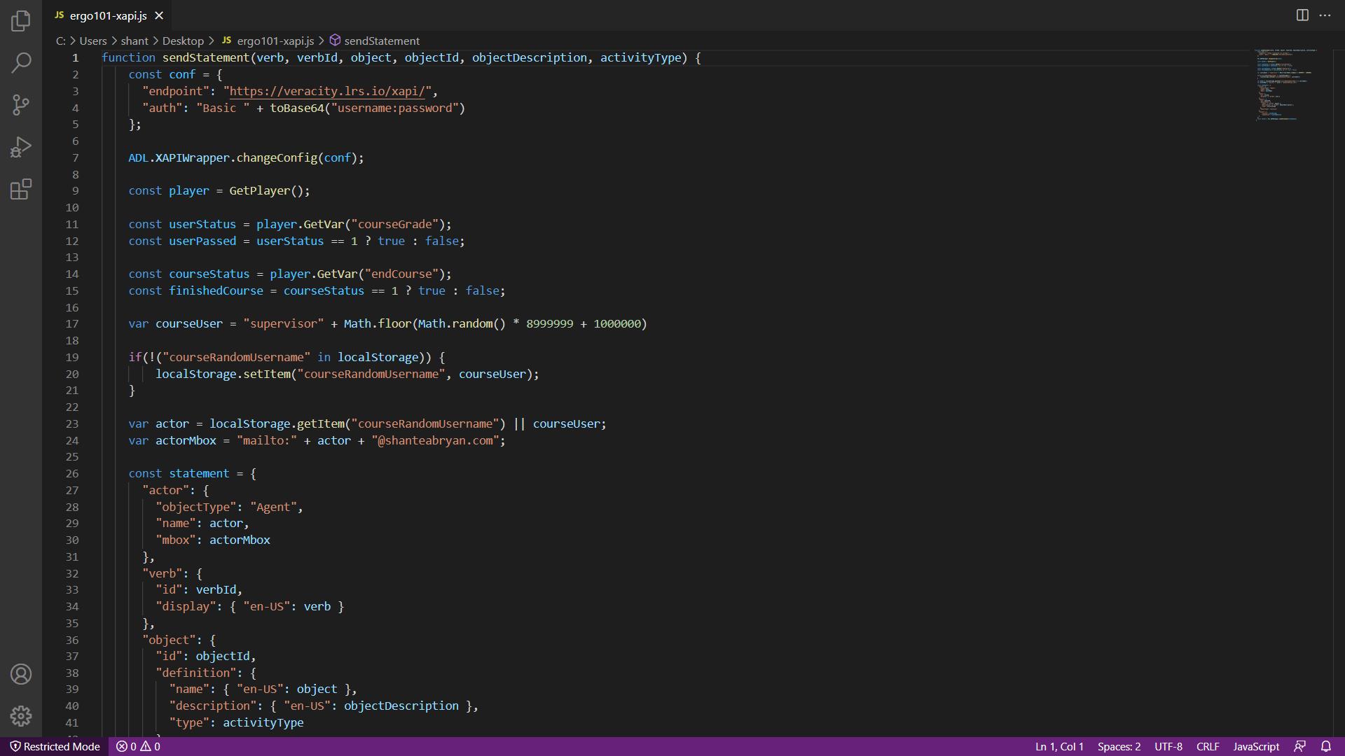 xAPI Statement in Visual Studio Code