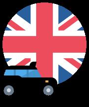 UK flag with London cab