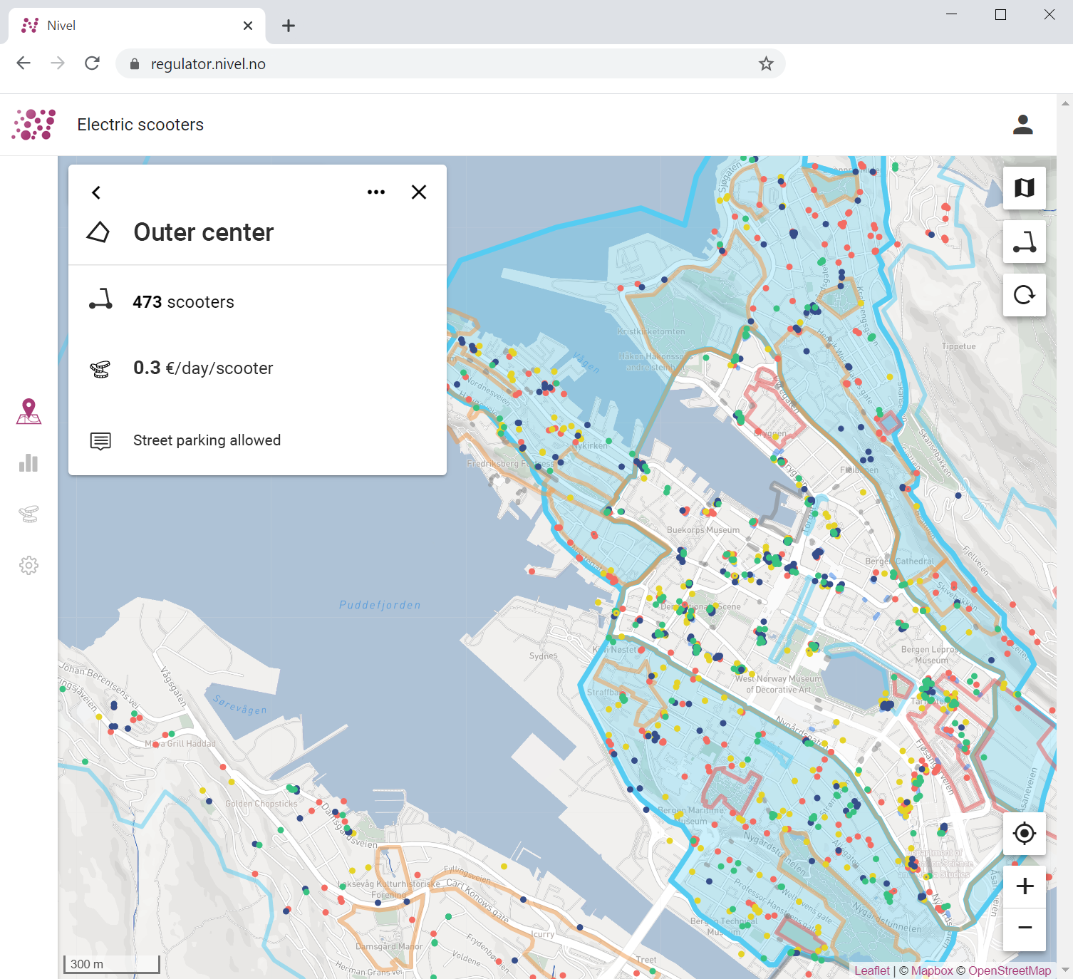 An illustration of the web regulator tool that shows a map of the city of Bergen with specific information about the scooters that are in the selected zones.