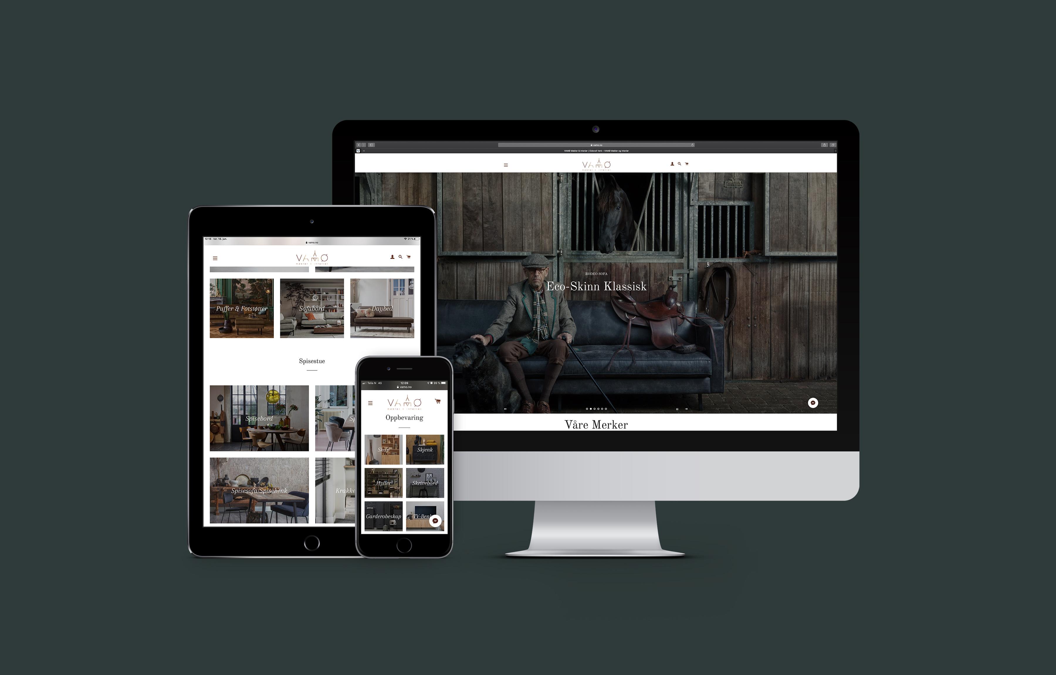 VAMØ Møbler & Interiør presentert som nettside på ulike skjermstørrelser