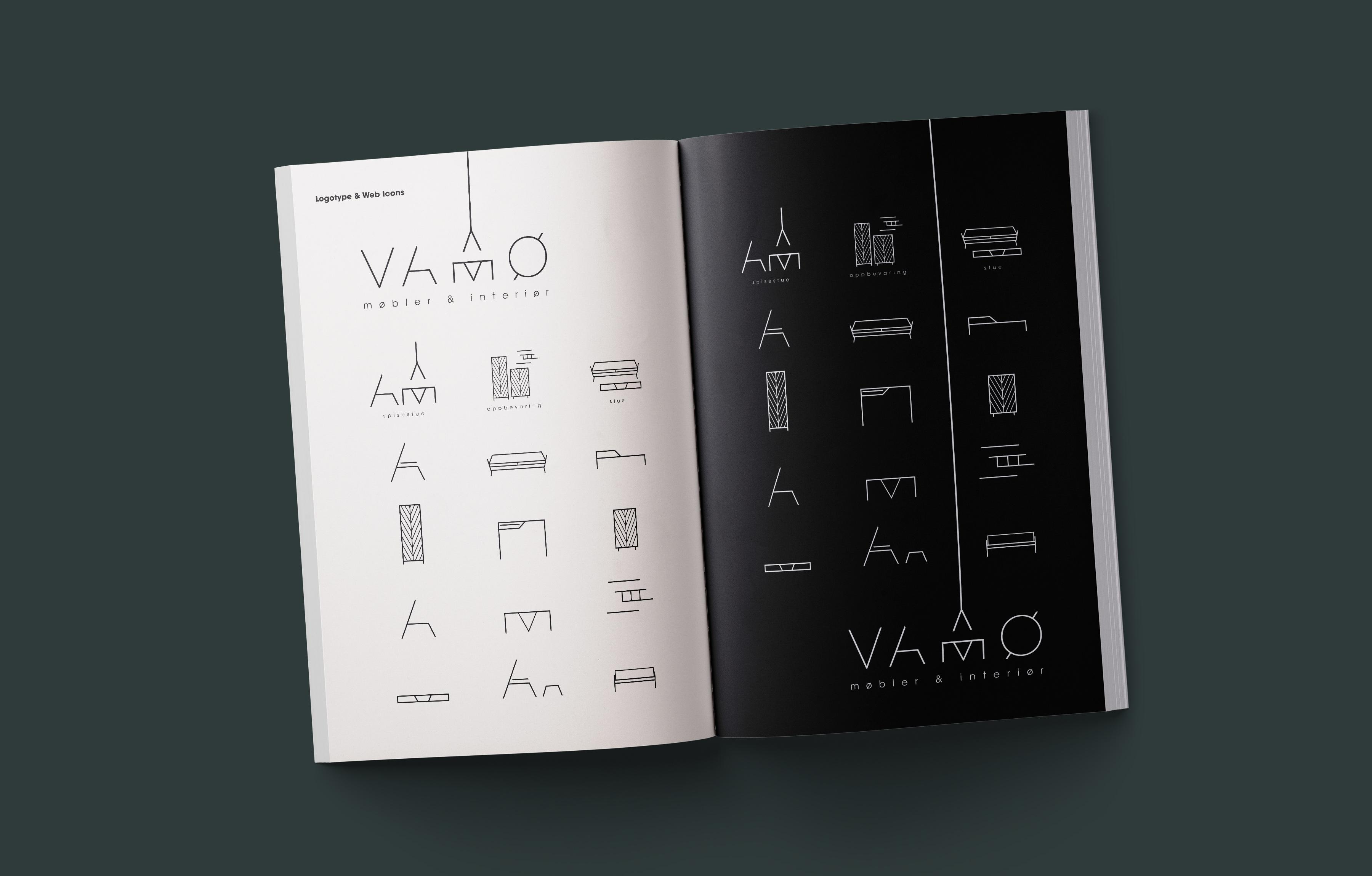 VAMØ Møbler & Interiør sin visuelle profil presentert som oppslag i et magasin