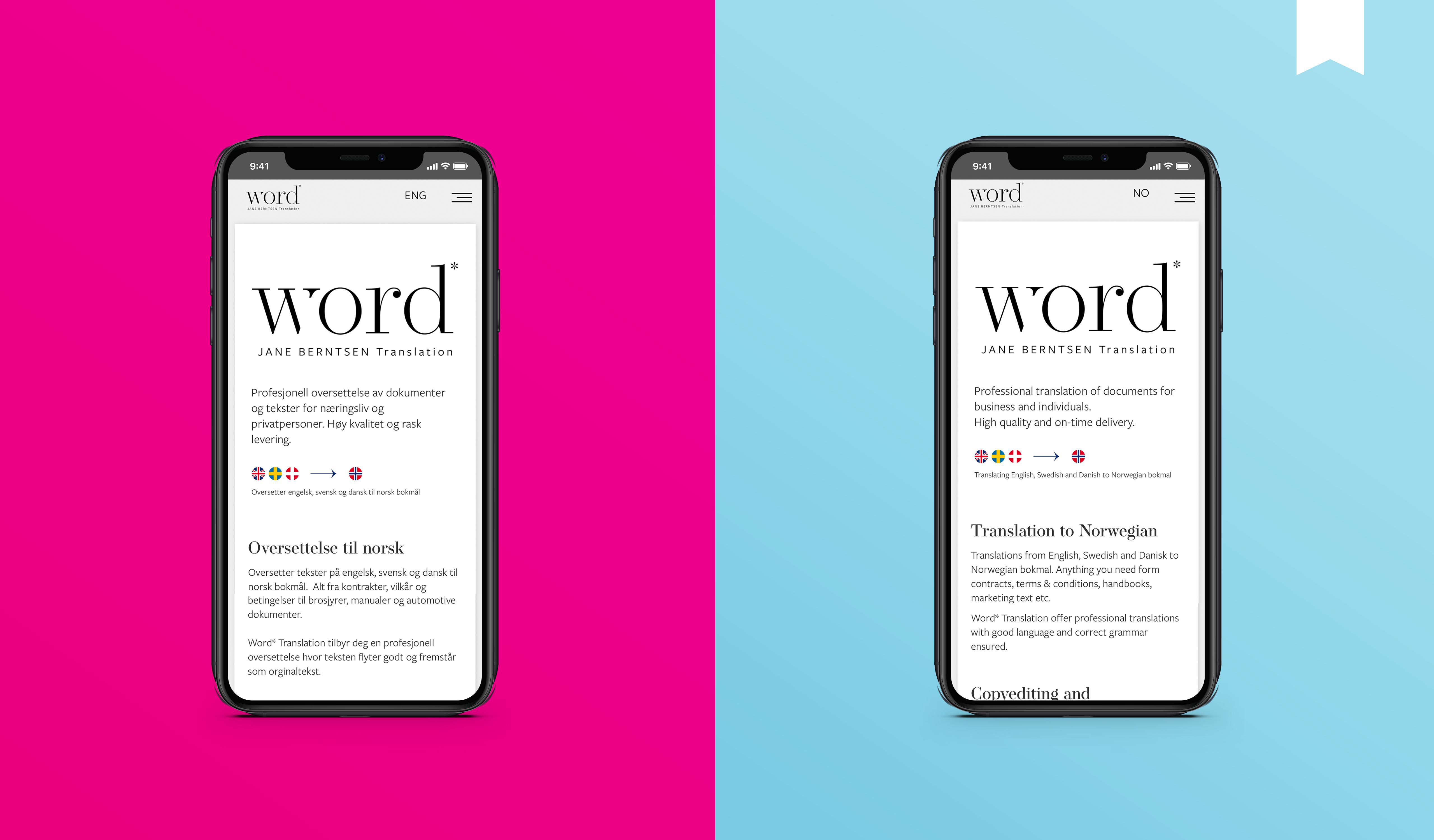 Utsnitt av nettsiden på mobil / Word Translation