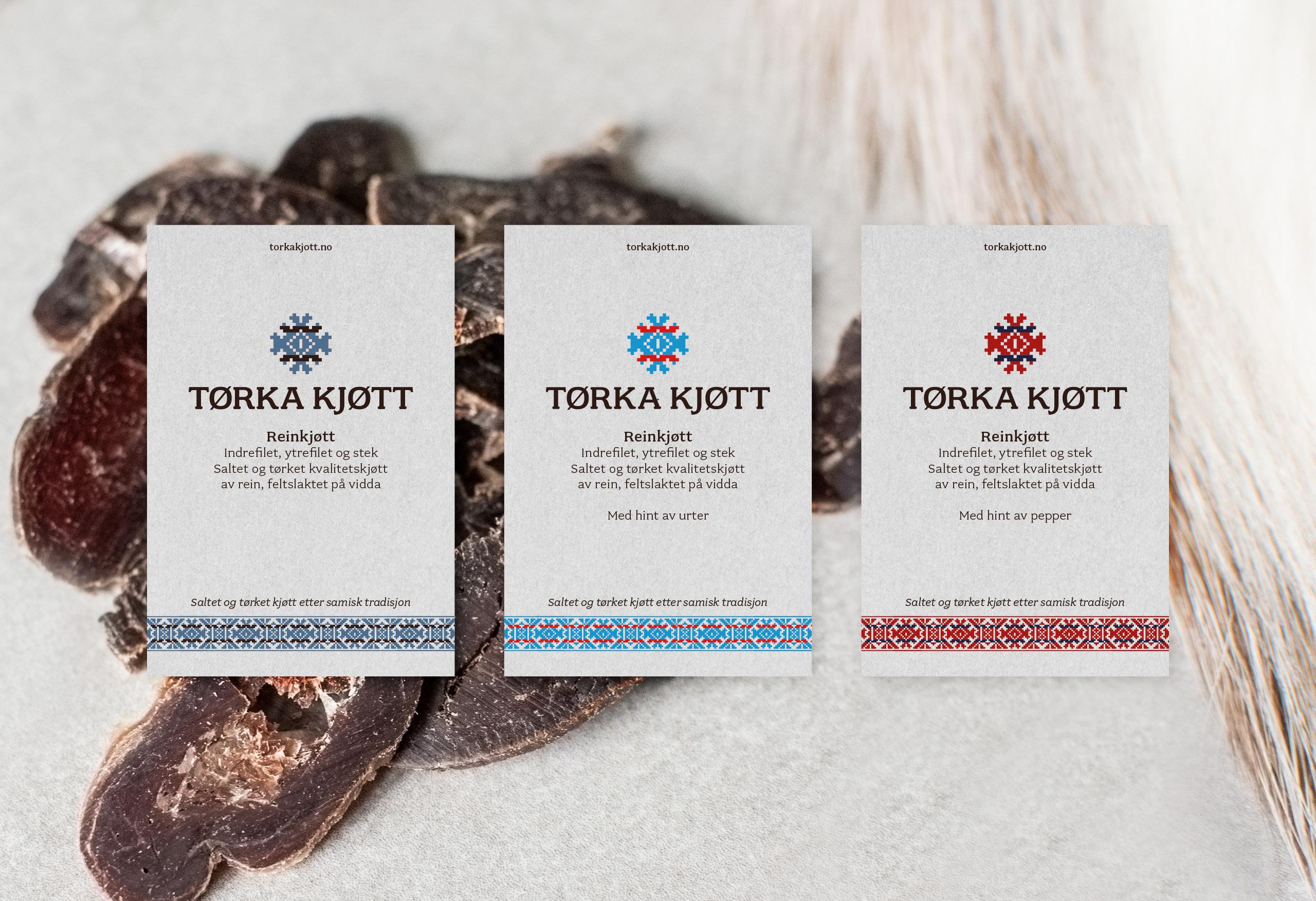 Logo og visuell identitet for Tørka Kjøtt. Etiketter med lim til forpakning
