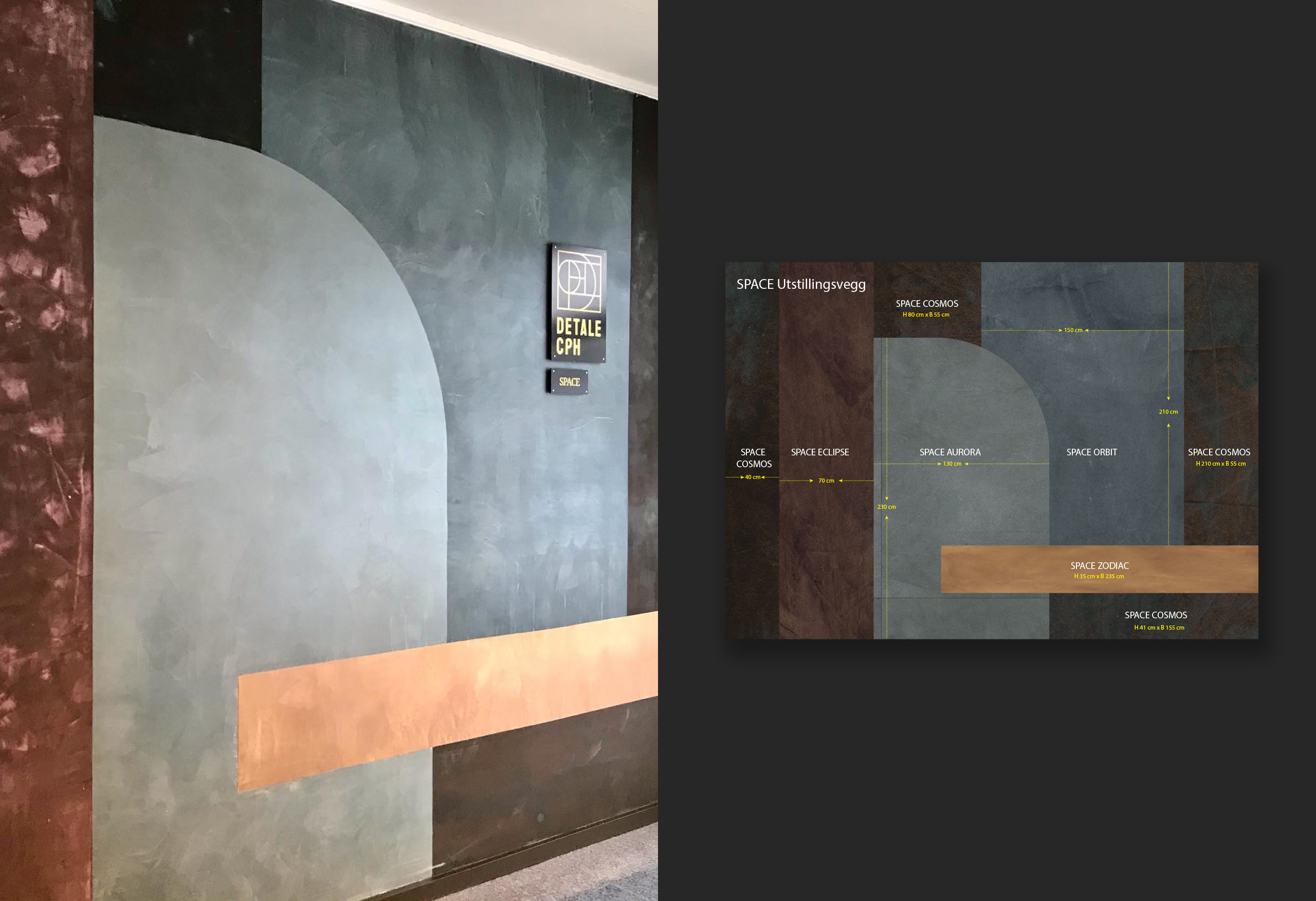 Flügger farve Råholt - malt vegg med Detale