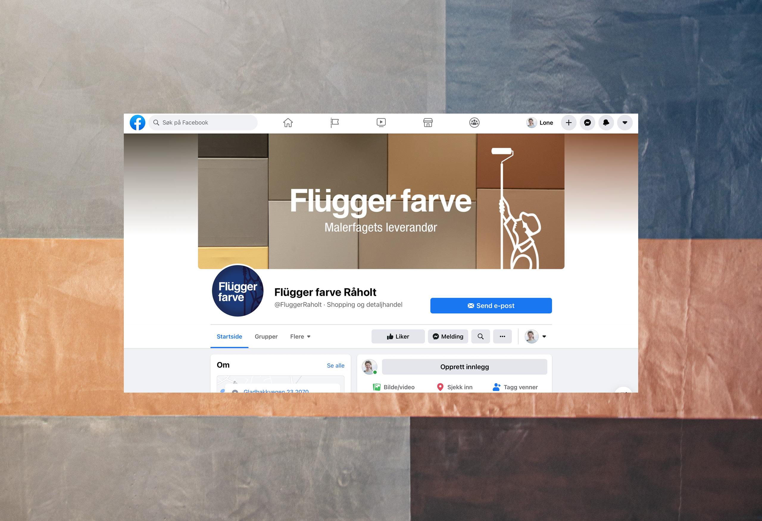 Innhold til Flügger farve Råholts facebookside medier