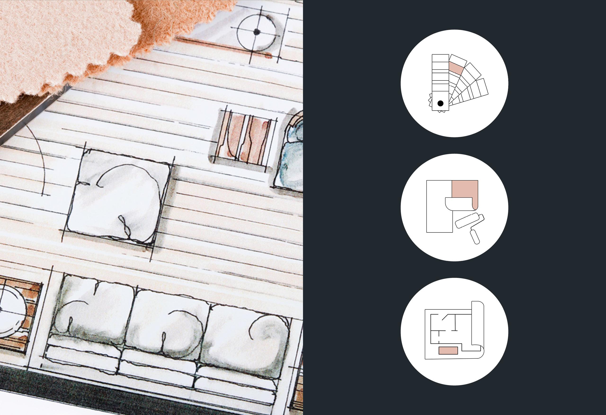 Symboler tegnet for Kaspara Boligstyling & Interirør sine nettsider. Fargekart, malerull og tapet, interiør