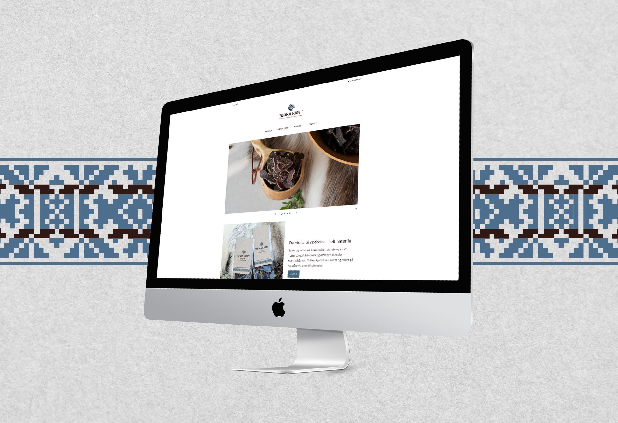 Nettsidedesign for Tørka Kjøtt. Her et utsnitt av forsiden på nettsiden