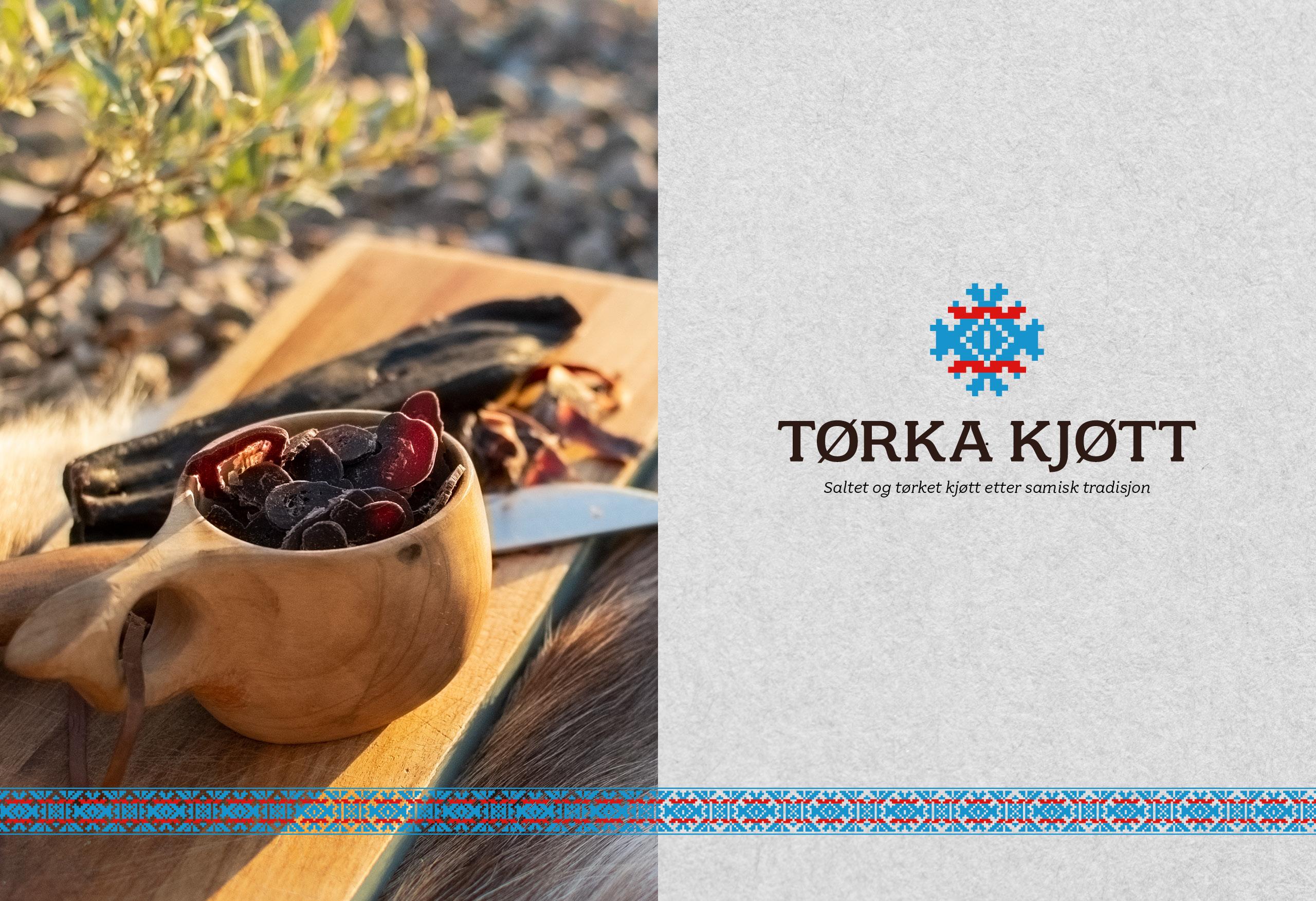 Logo og produktfoto. Tørket kjøtt på trefjøl med samekniv og trekopp