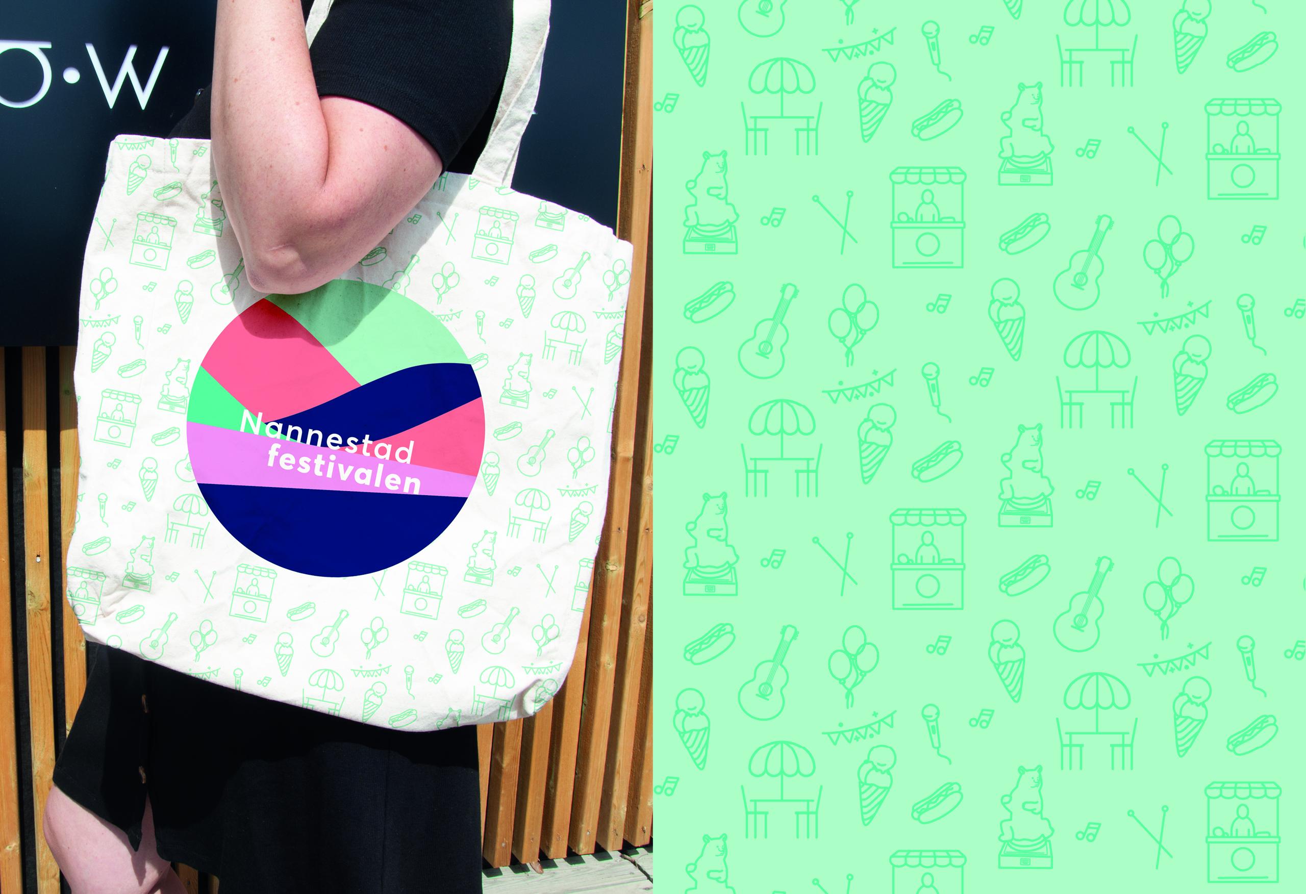 Logo på handlenett med mønstret bakgrunn, laget av RåW studio