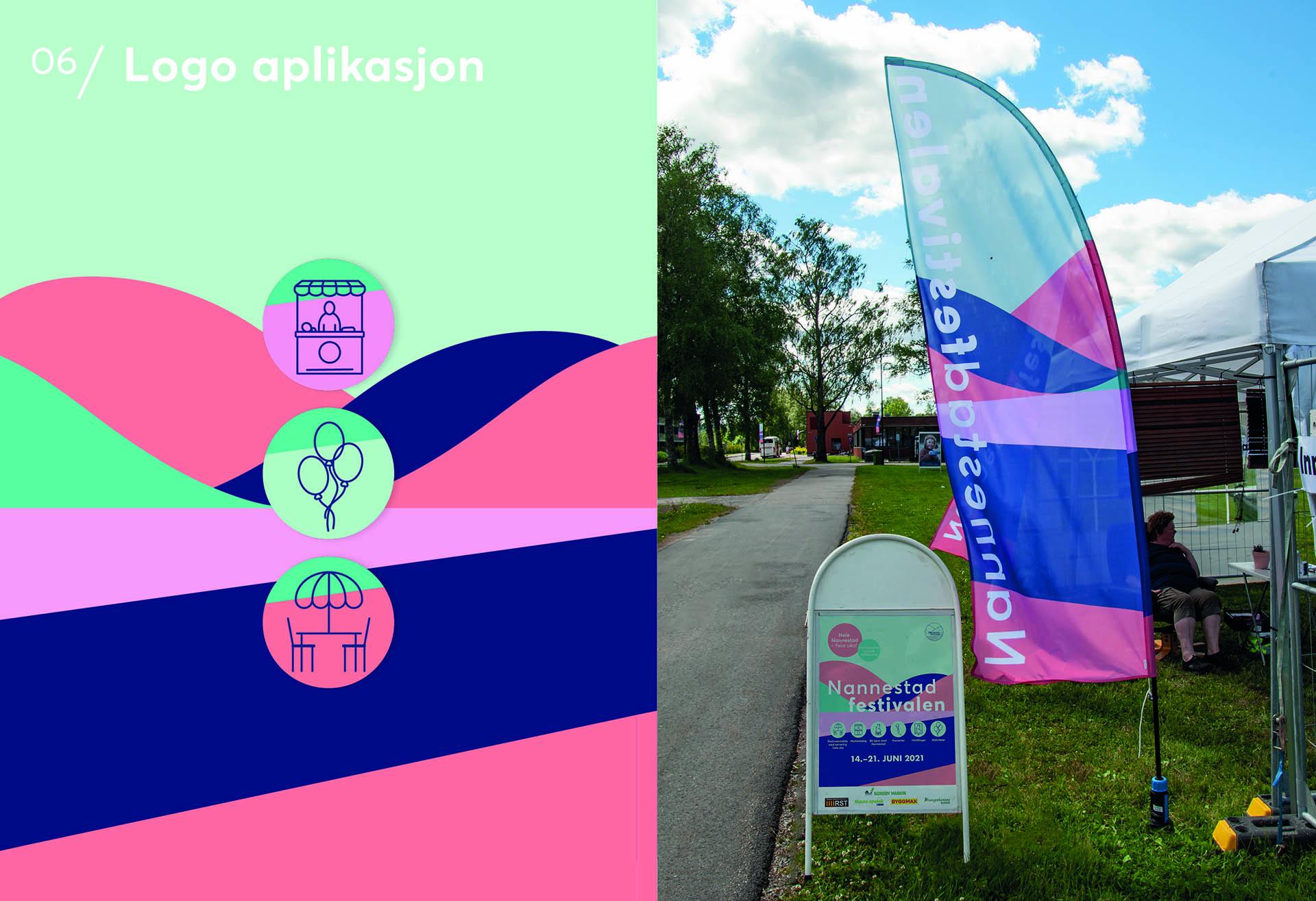 Beachflag og plakat til Nannestadfestivalen