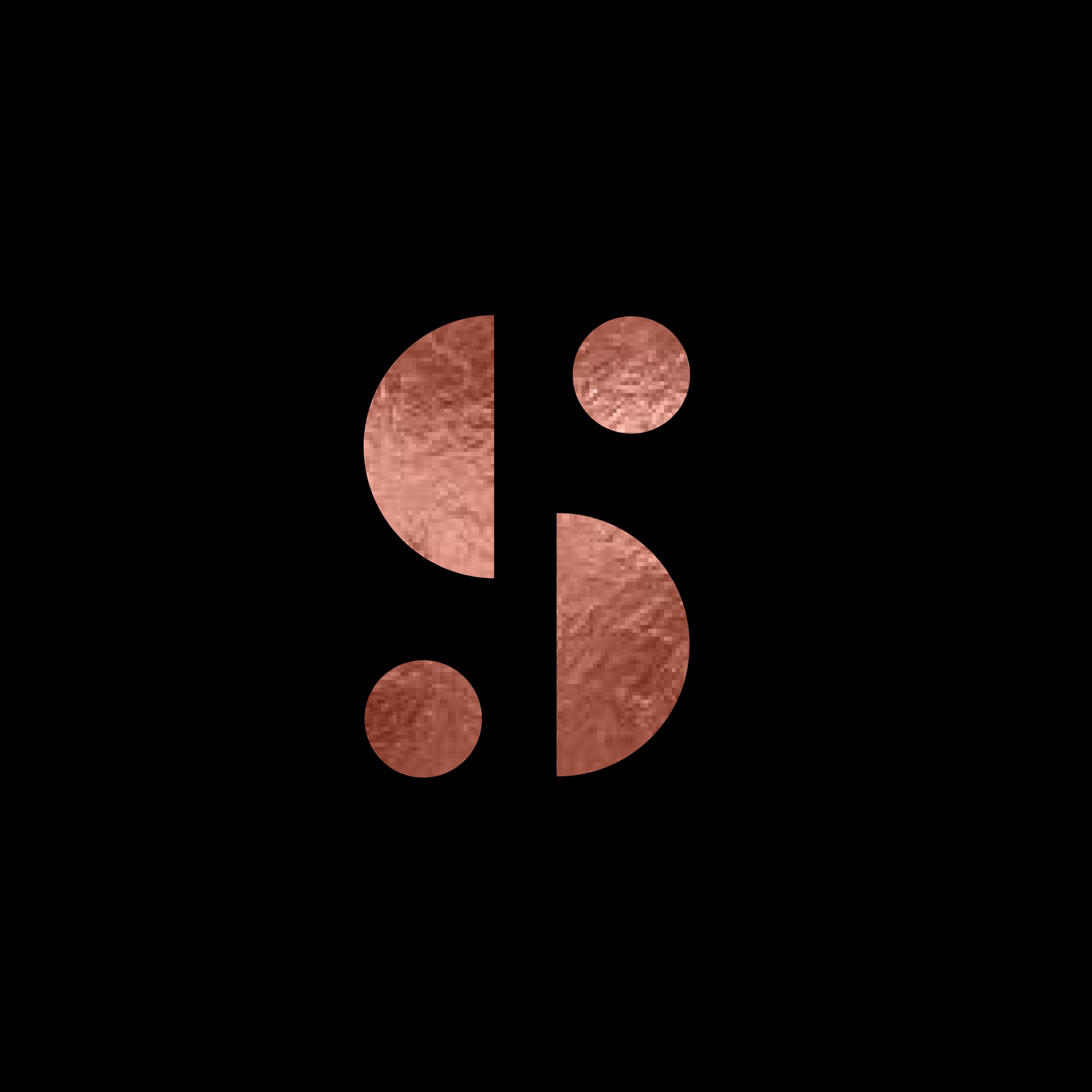 Studio London Co Logo - S Logo Rose Gold Foil with black background