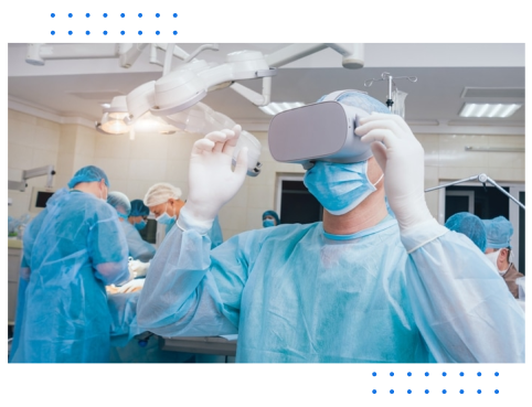 Nurse in scrubs with VR headset on