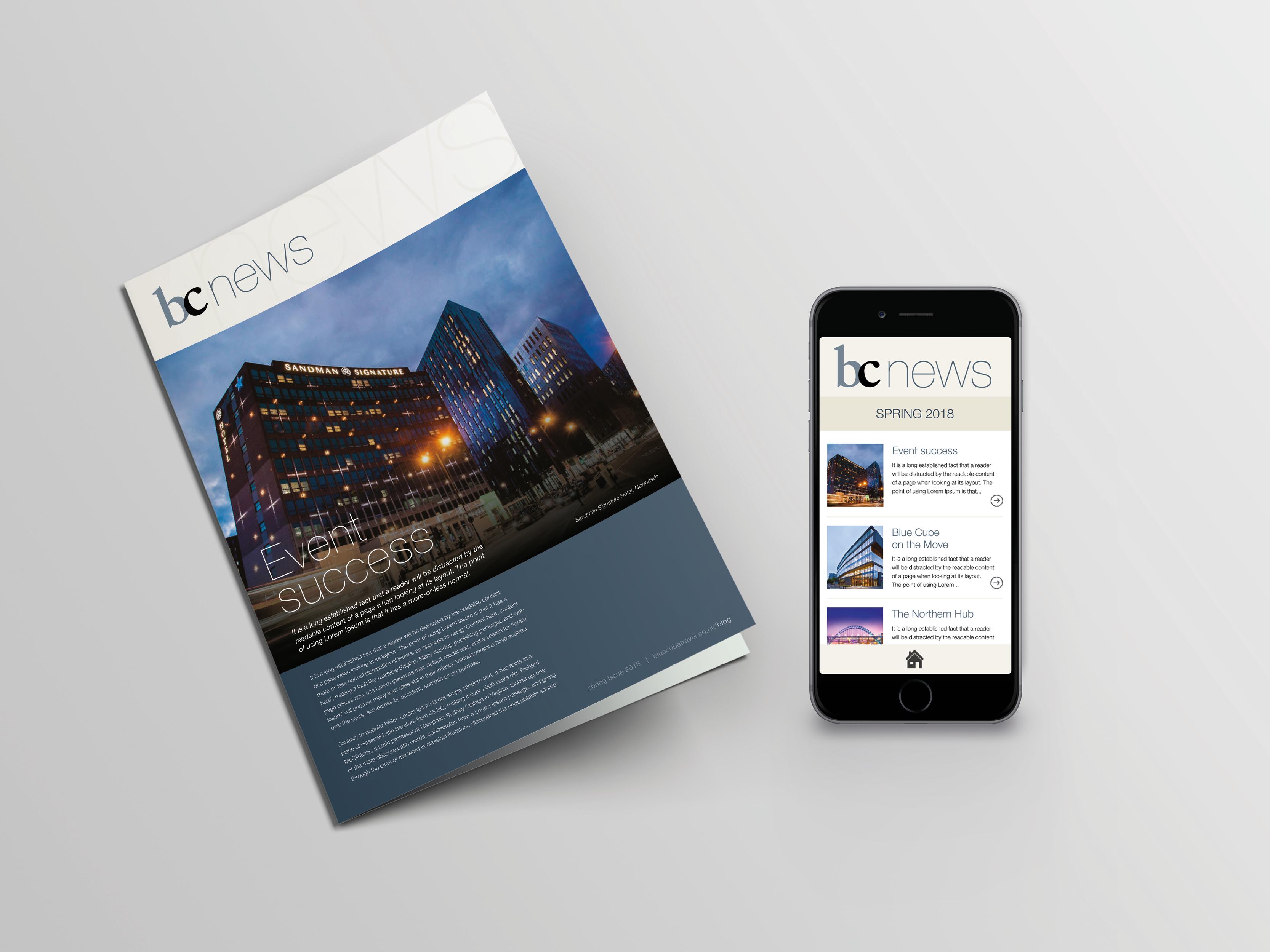 Newsletter design for print and e-news