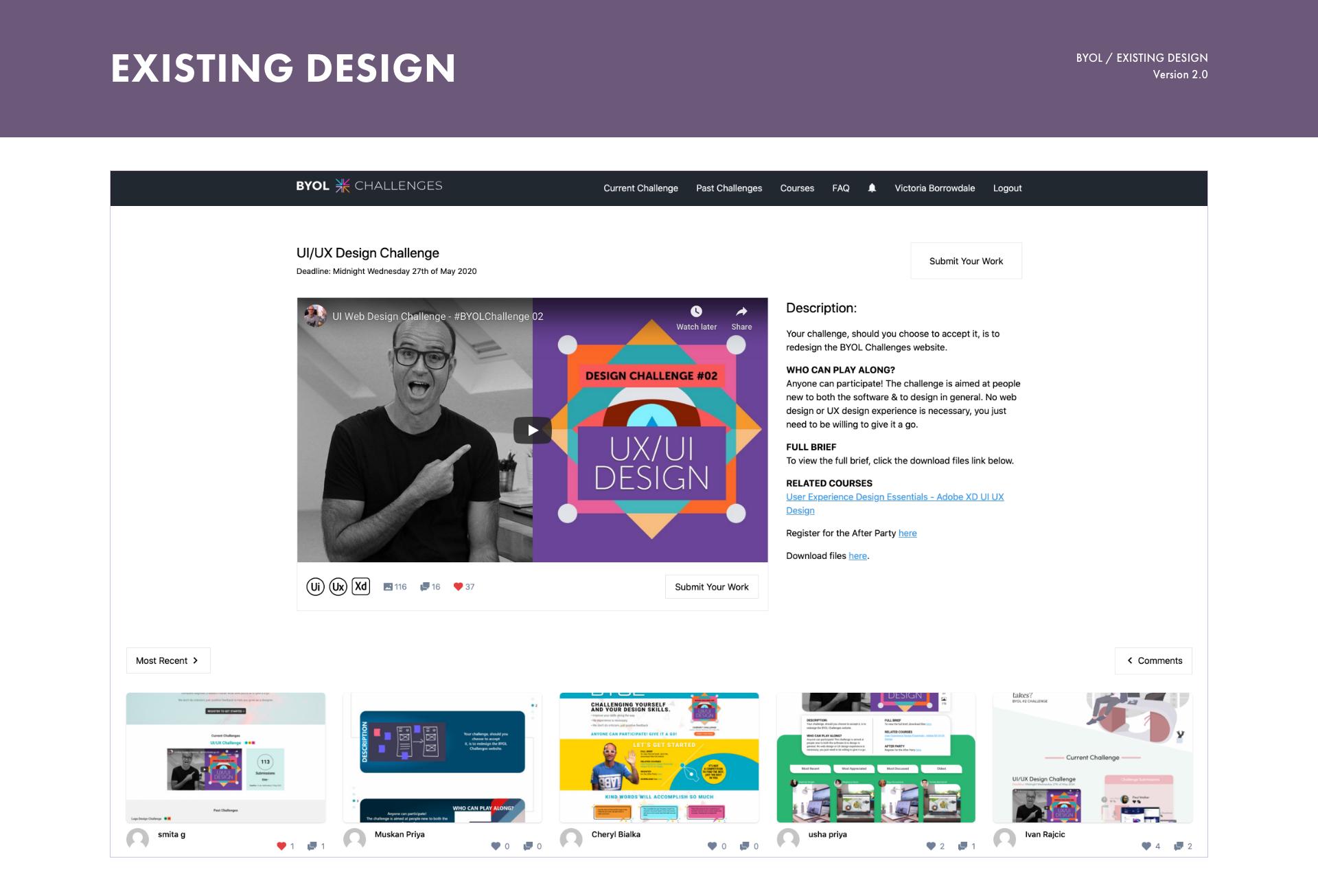 Existing website design reference