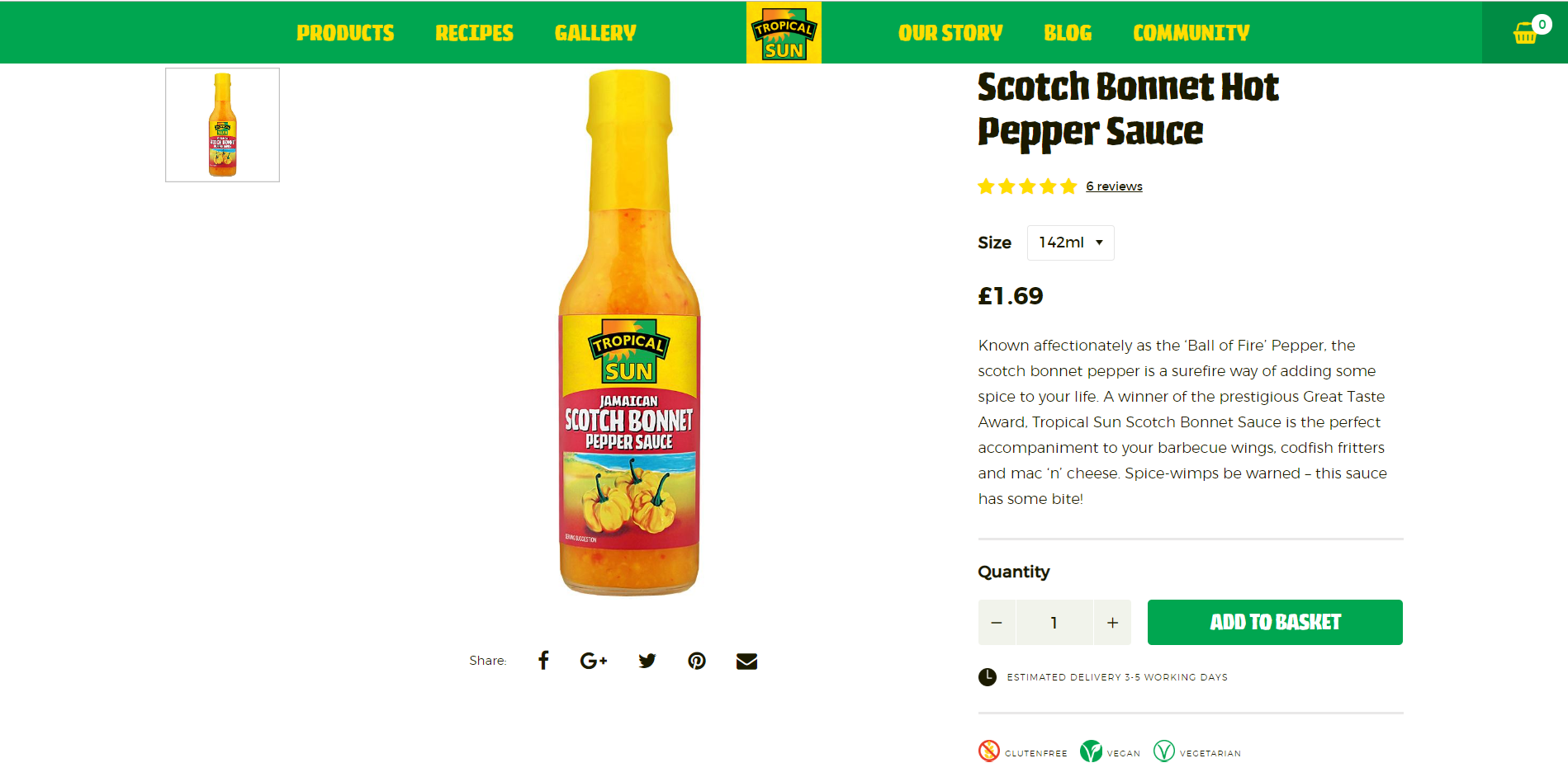 Example of product page at Tropical Sun