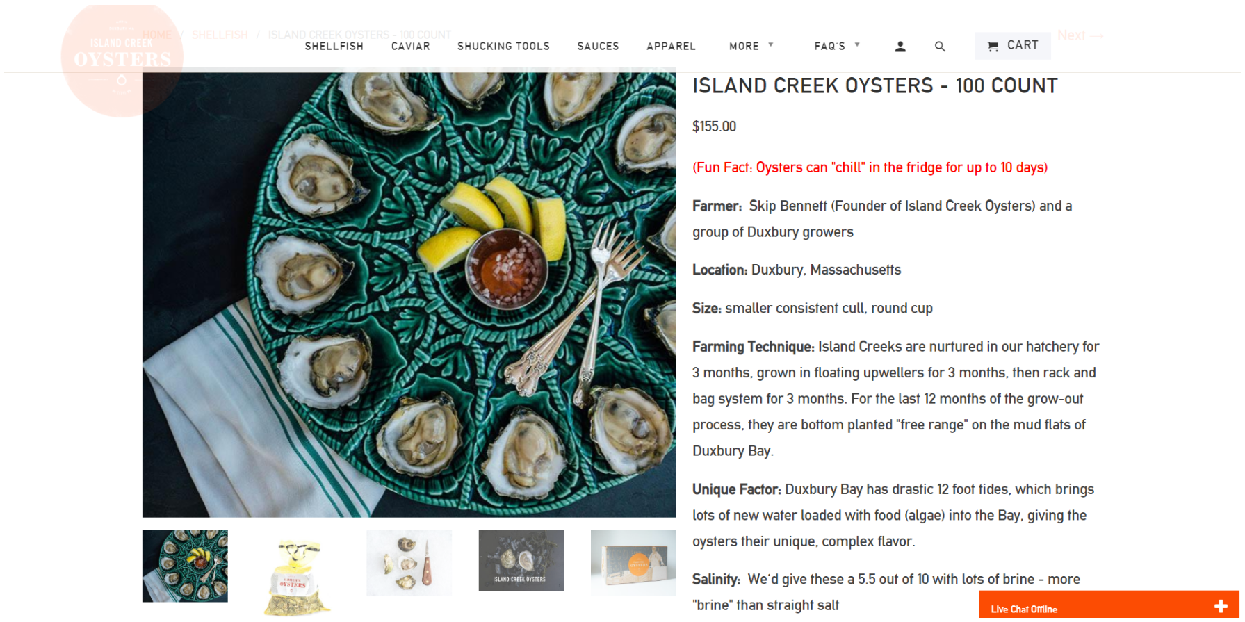 Example of product page at Island Creek Oysters