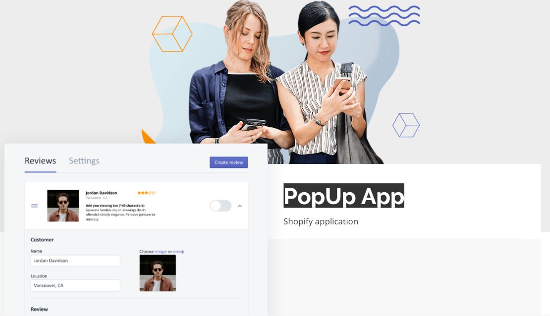 PopUp App is one of the best review apps at Shopify