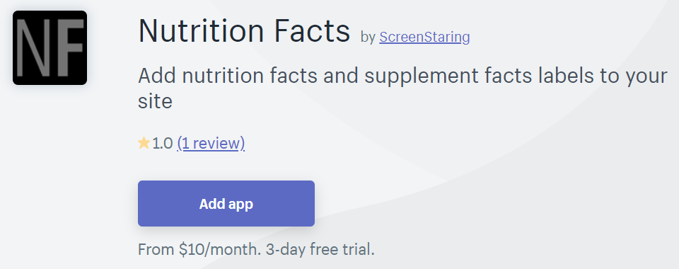 Nutrition Facts one of the best app for food & beverages store