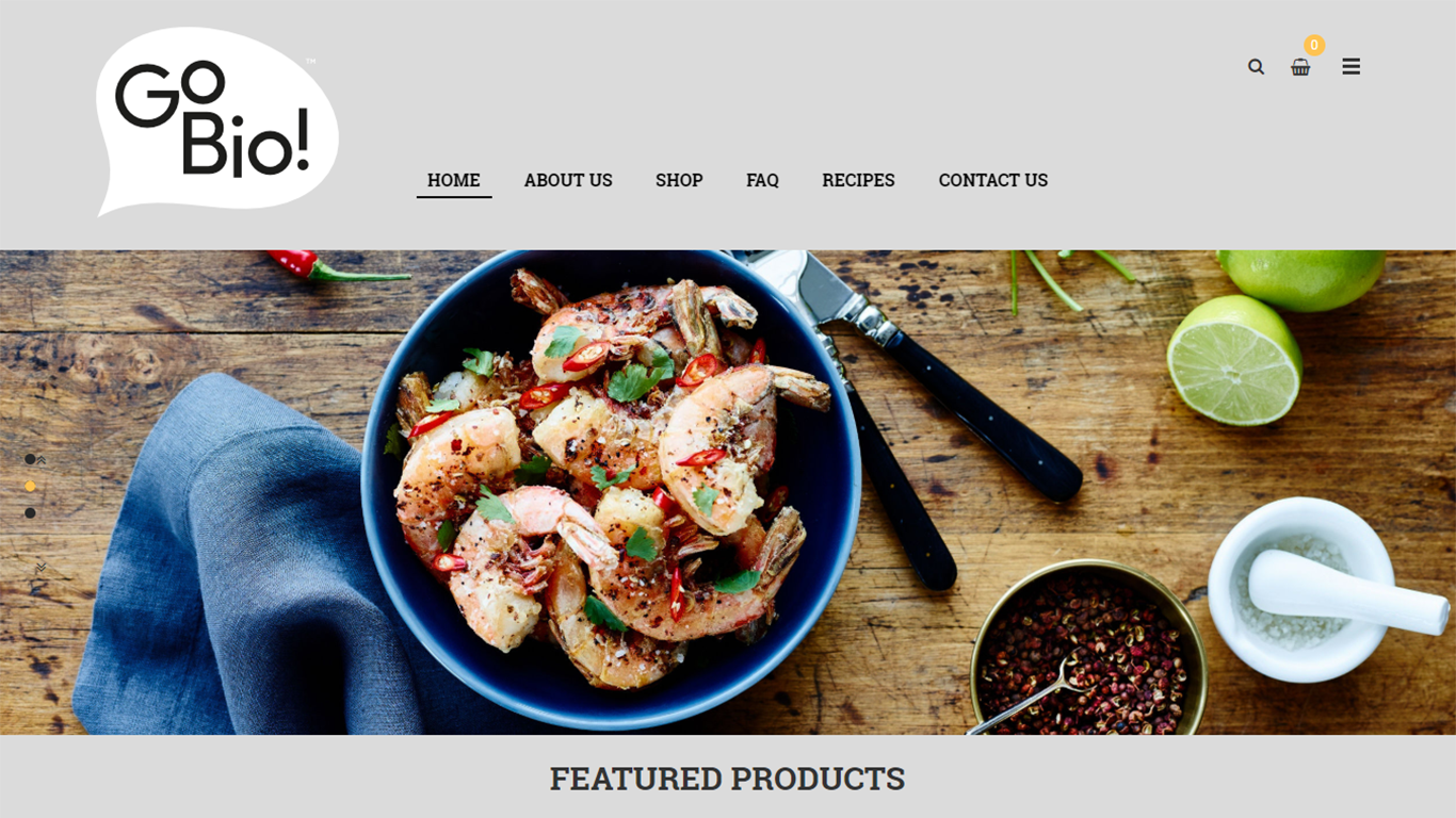 An example of the homepage in the online food store