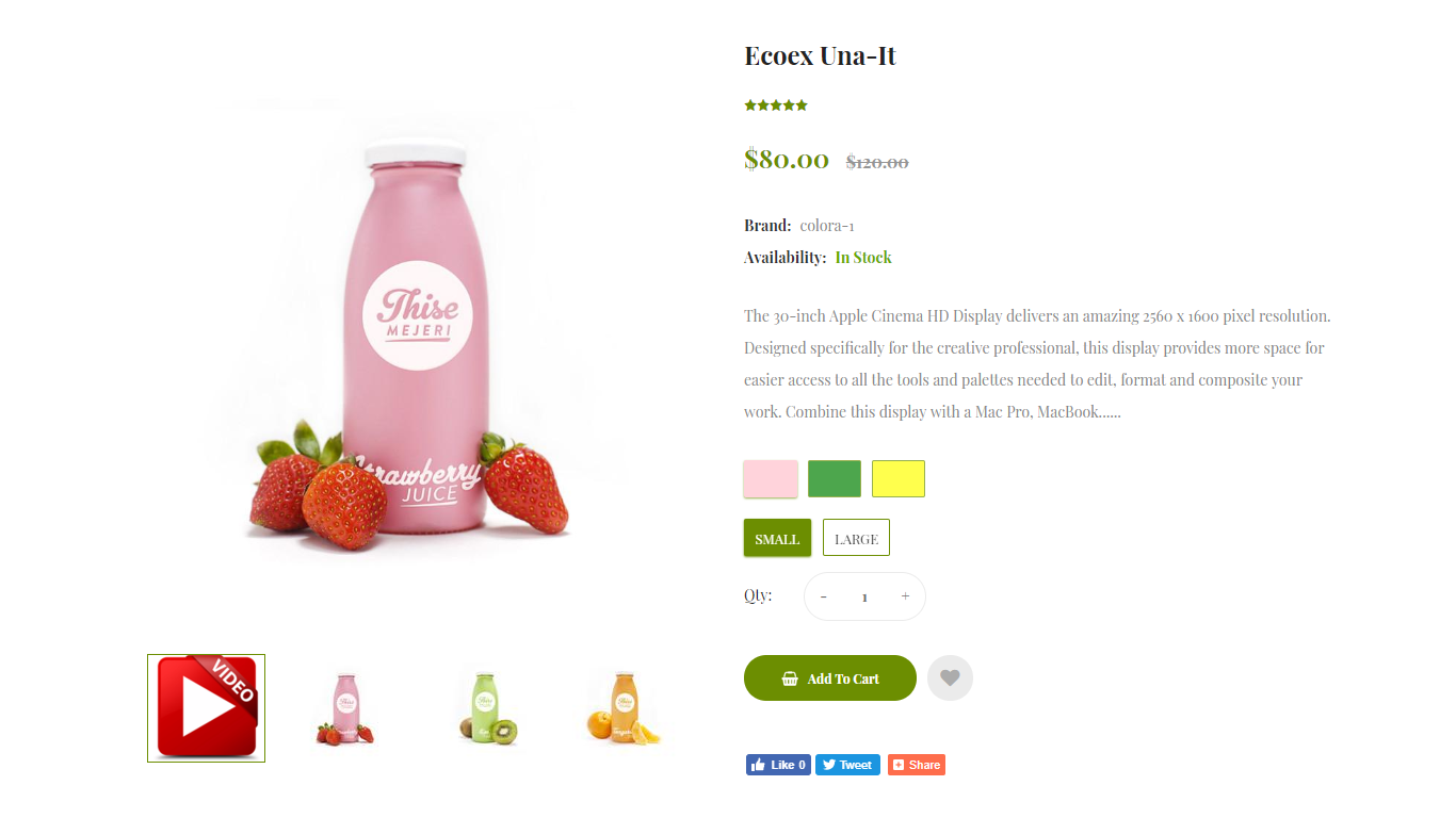 An example of the correct design of the product description in an online food store