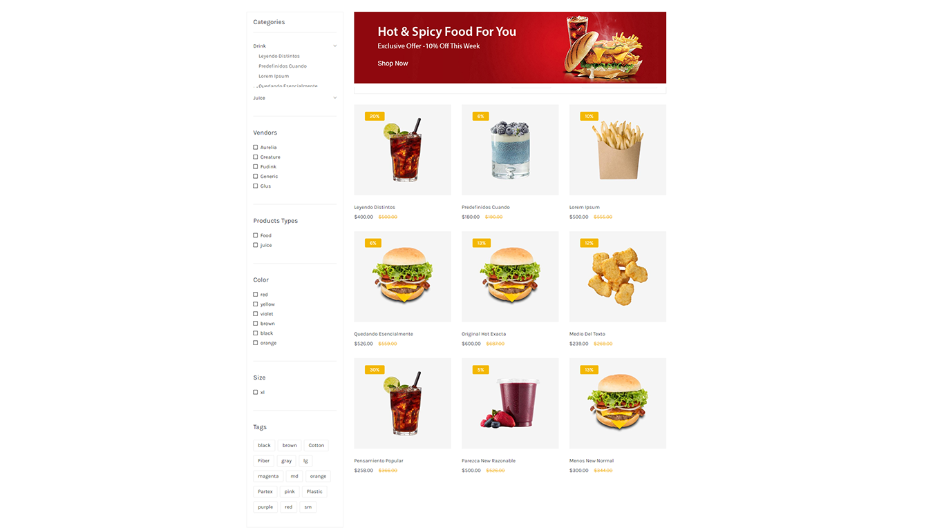 An example of a design product category page in the online food store