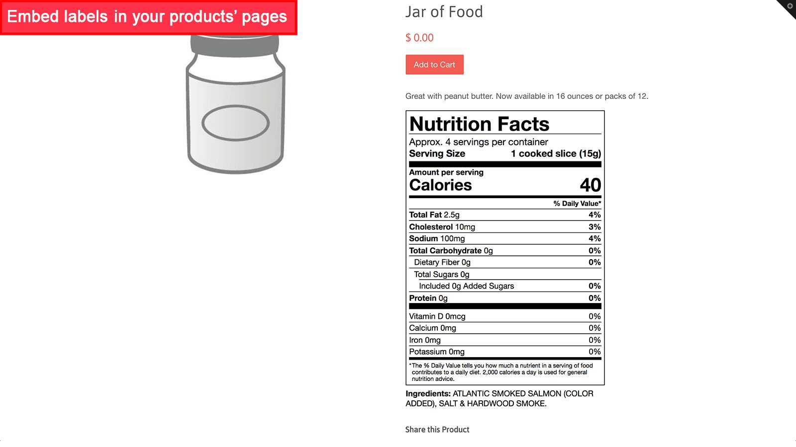 Embed labels in products' page using app Nutrition Fact  in an online food store