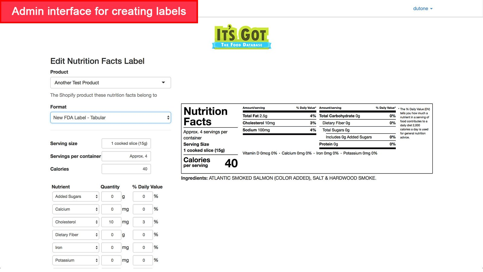 The admin interface of Nutrition Fact for creating labels in an online food store