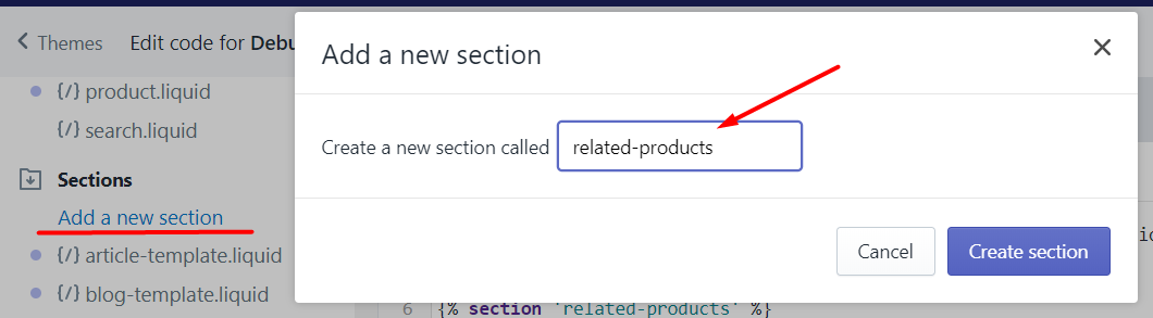 How to add a new section to display Shopify related products