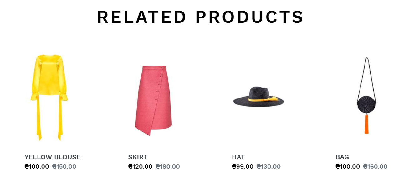 Section with related products in Shopify online store