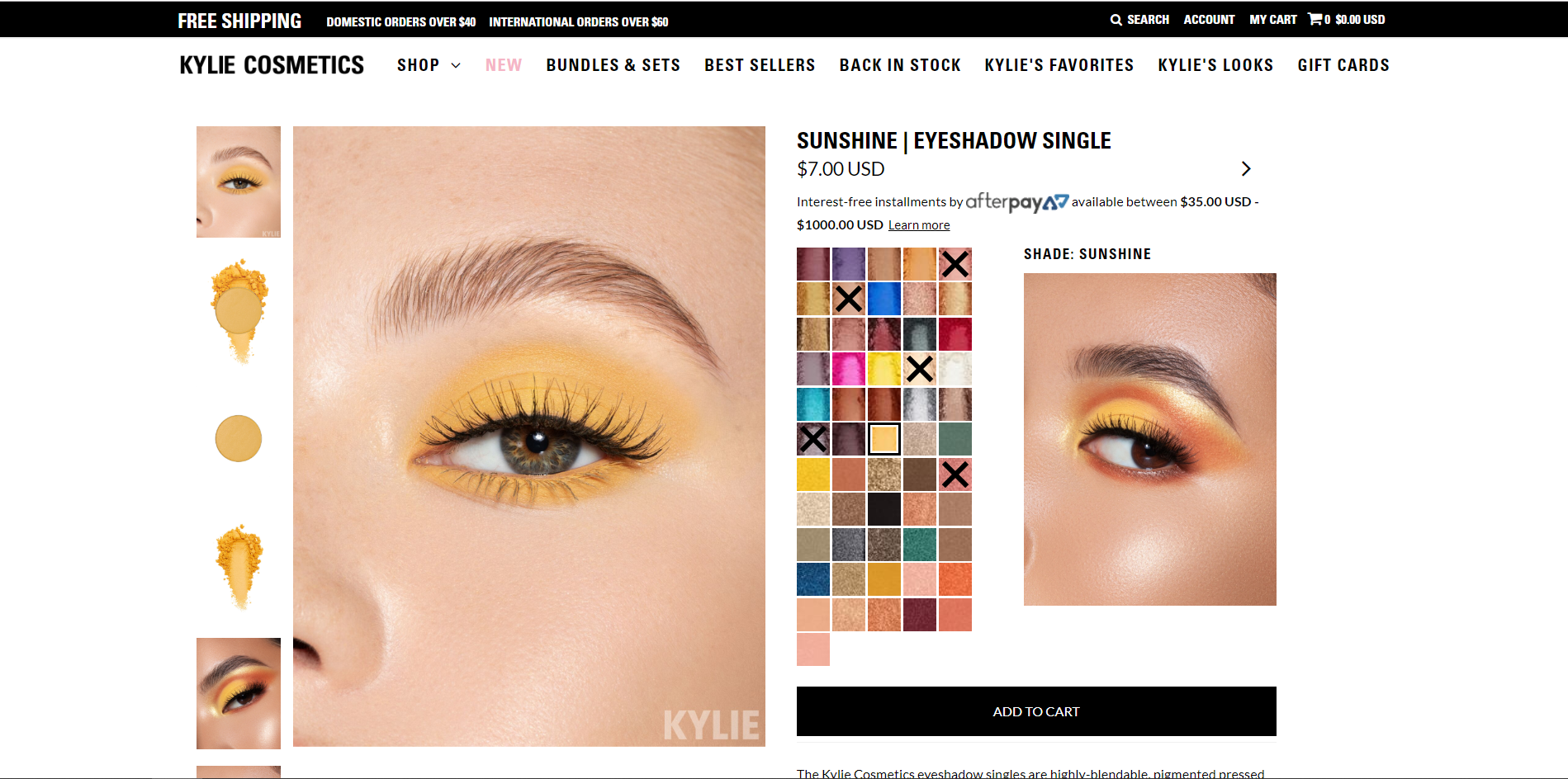 Example of products at Kylie Cosmetics