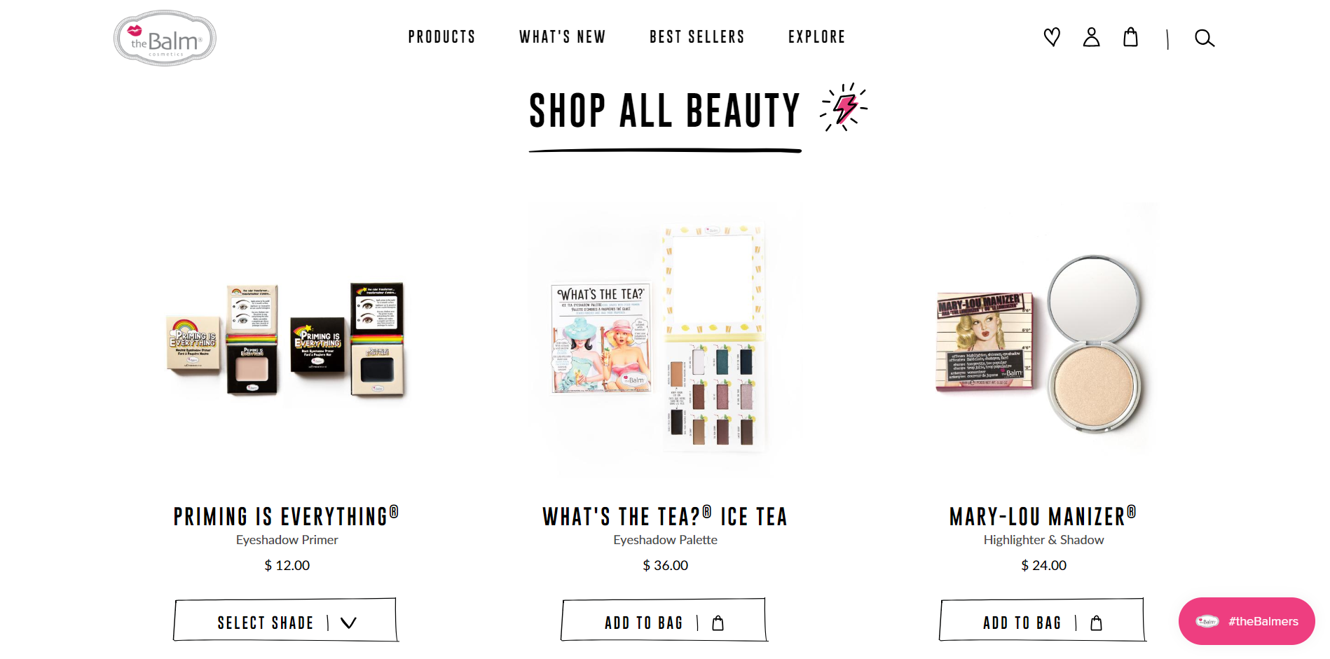 Example of the collection page at The Balm
