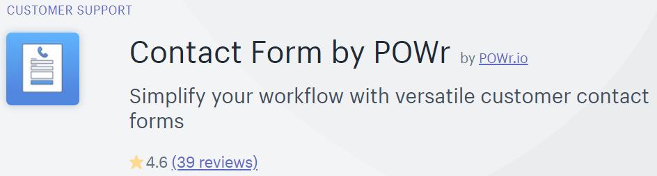 Contact Form by POWr in the Shopify app store